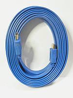 Шнур HDMI-HDMI, плоский кабель, gold, 5м, синий (в блистере), фото 1