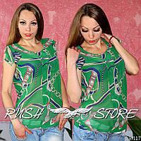 Шифоновая женская блузка зелёная