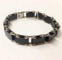 Мужской браслет с черными вставками из керамики (в наличии три цвета)