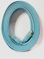 Шнур HDMI-HDMI, плоский кабель, gold, 5м, бирюзовый (в блистере), фото 1
