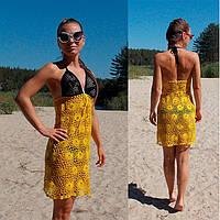 Вязаная крючком пляжная туника - сарафан с открытой спиной