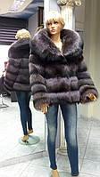 Шуба из Енота фиолетового цвета длинный рукав с капюшоном без пояса размер 46-48