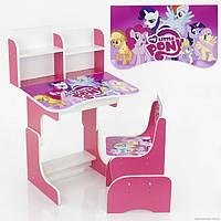 """Регулируемая детская парта со стульчиком """"Little Pony"""", розовая"""