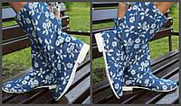 Синие женские стильные льняные сапожки с узором весна/осень. Арт-0682