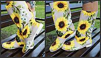 Цветные яркие женские стильные тканевые сапожки подсолнухи весна/осень. Арт-0683