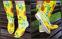 Цветные яркие женские стильные тканевые сапожки Подсолнухи весна/осень. Арт-0684