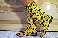 Цветные яркие женские стильные тканевые сапожки Ромашки весна/осень. Арт-0685