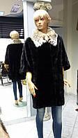 Шуба из норки чёрного цвета  рукав летучая мышь воротник Рысь  размер 46-48