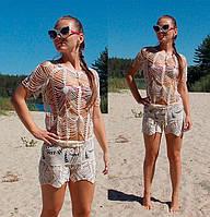 Вязаный крючком пляжный комплект - шорты и блуза