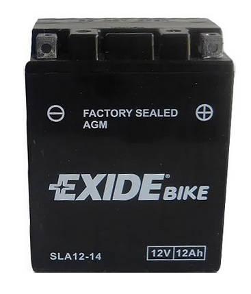 Аккумулятор залитый и заряженный AGM 12Ah 210A EXIDE SLA12-14 = AGM12-14, фото 2