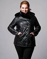 Кожанная курта утепленная черная, фото 1