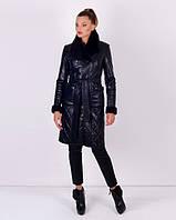 Утепленное женское пальто из эко-кожи, фото 1
