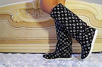 Черные стильные женские тканевые сапоги Луи Витон весна/осень.  Арт-0693