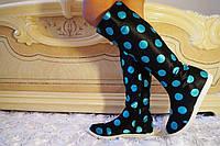 Черные стильные женские тканевые сапоги в голубой горошек на змейке весна/осень.  Арт-0695