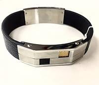 Мужской кожаный браслет с широкой стальной вставкой (золотой/бронзовый квадратик)