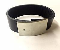 Мужской кожаный браслет с широкой стальной застёжкой