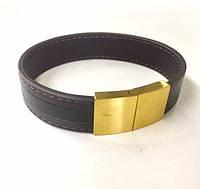 Мужской кожаный браслет со швом и стальной золотой застёжкой