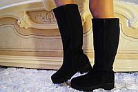 Черные стильные женские сапоги из натуральной замши на змейке весна/осень.  Арт-0697