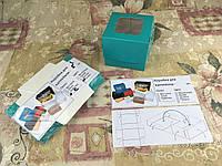 Коробка Бирюзовая для 1-ого кекса с окном  100*100*90, фото 1