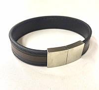 Мужской кожаный браслет с коричневой линией