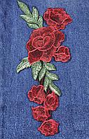 Нашивка  Розы 3D красные 127x260 мм