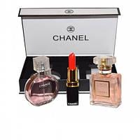 Подарочный набор от CHANEL (два парфюма по 15 мл + помада)