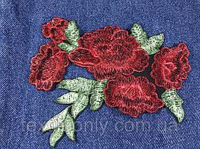 Нашивка Розы 3D красные 160x134 мм