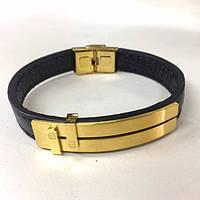 Мужской кожаный браслет в золотом цвете