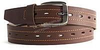 Качественный кожаный мужской ремень высокого качества коричневого цвета MASCO 4 см Украина (101138)