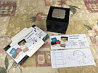 Коробка для 1-ого кекса / 100х100х90 мм / печать-Черн / окно-обычн, фото 1