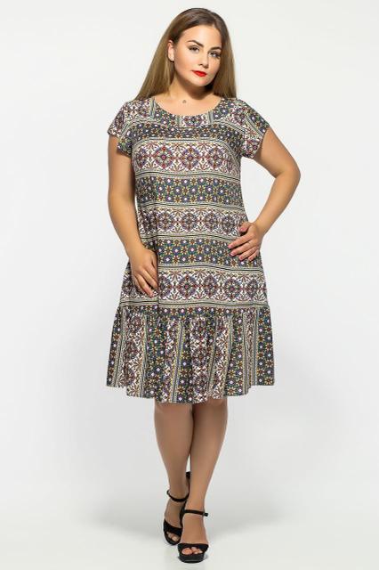 Женское прямое платье Яна цвет оливка размер 52,54,56  / больших размеров