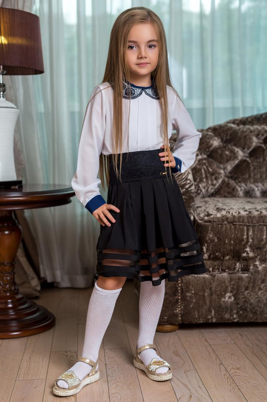 Блуза белая с ажурным воротником- 280грн и юбка деткая школьная - 280грн