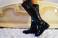 Черные стильные женские лаковые сапоги-ботфорты на змейке весна/осень.  Арт-0699