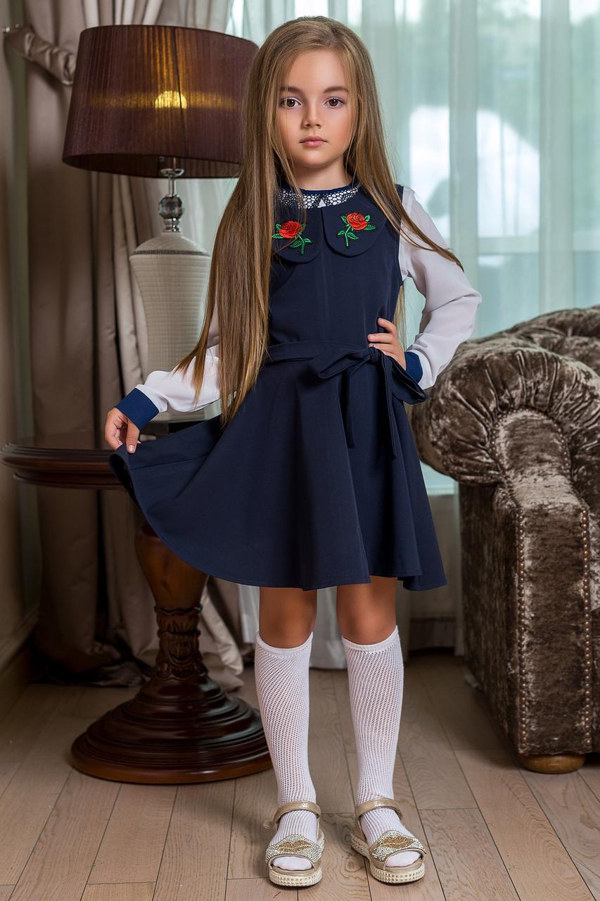 Сарафан школьный с розами на воротнике
