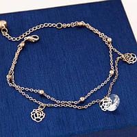 Золотой браслет на ногу с цветочками и фианитом