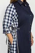 Женское модное платье Евгения цвет синий клетка размер 52-58 / большие размеры , фото 3