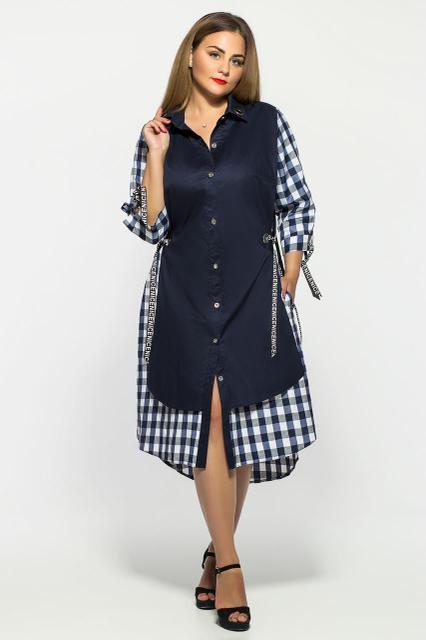 Женское модное платье Евгения цвет синий клетка размер 52-58 / большие размеры