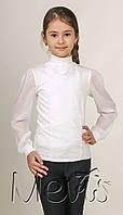 Блузка для девочки белого цвета с фатиновой розой