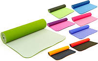 Коврик для фитнеса и йоги двухслойный TPE 3046, 9 цветов: толщина 6мм, размер 1,83x0,61м, фото 1