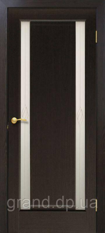 """Дверь межкомнатная """"Венера СС+КР ПВХ"""" с контурным рисунком, цвет  венге дымчатый"""