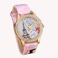 Женские часы со стразами Paris Розовый ремешок V.1
