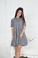 Короткое платье рубашка в клетку (черный, голубой ,розовый)