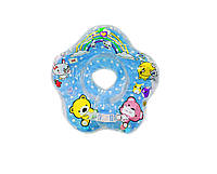Круг для купания младенца СИНИЙ (с погремушками), круг на шею
