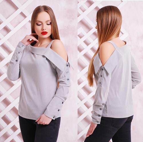 77442bc1558 Стильная блузка в полоску с рукавом купить в интернет магазине ...