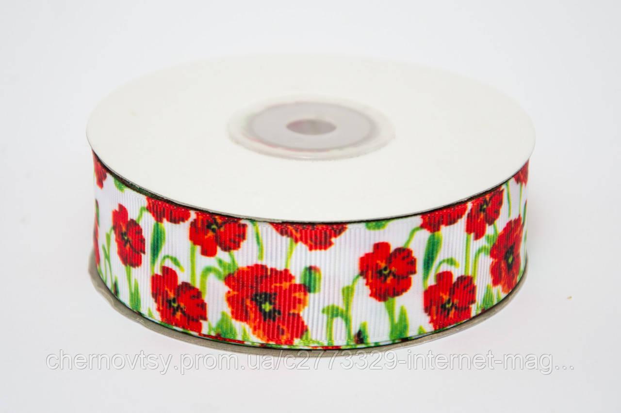 "Лента репс 2.5 см Украинская ""Маки"", 23 м"