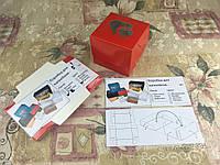 Коробка Красная для 1-ого кекса с окном 2 Сердца для капкейка, маффина 100*100*90 (с окошком)