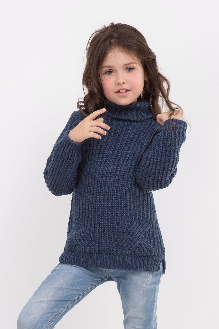 Теплый длинный свитер для девочек цвета индиго