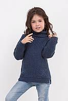 Теплый длинный свитер для девочек цвета индиго, фото 1