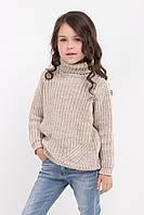 Теплый длинный свитер для девочек цвета лен