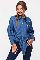 Джинсовая рубашка с брошками BADGE синяя